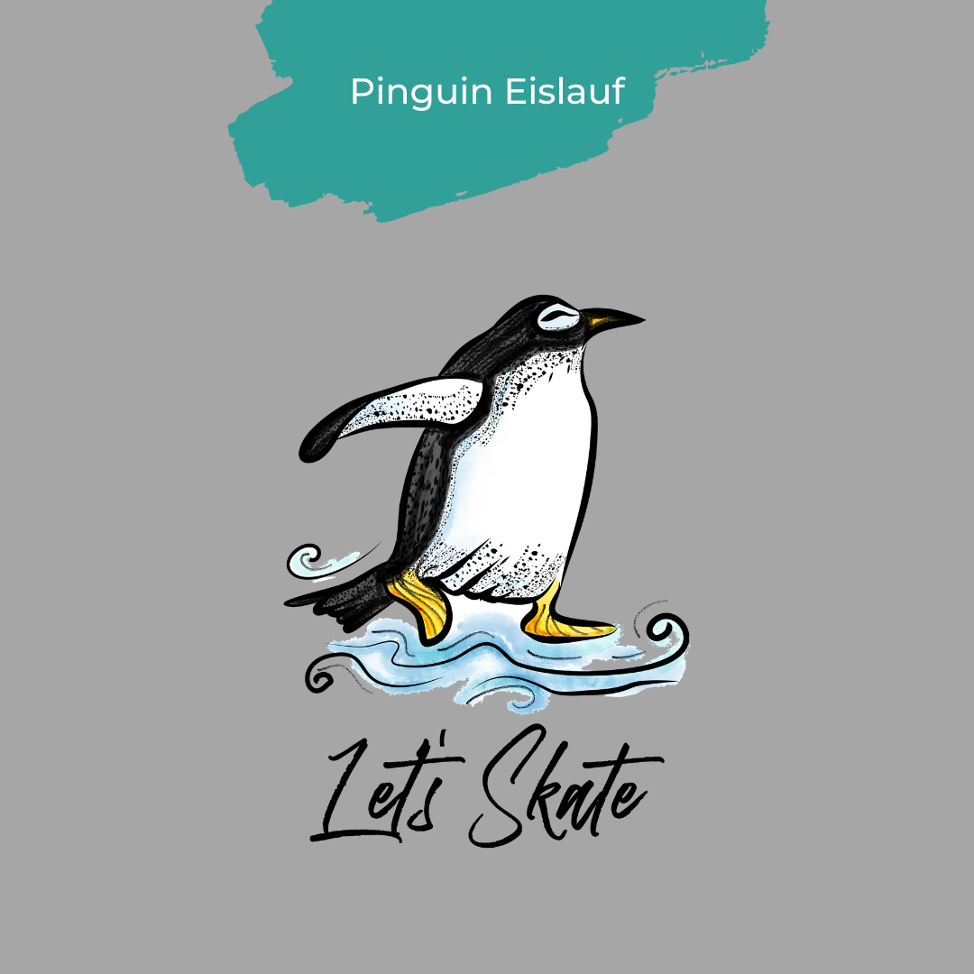 Pinguin Eislauf Design von Strandmuschel