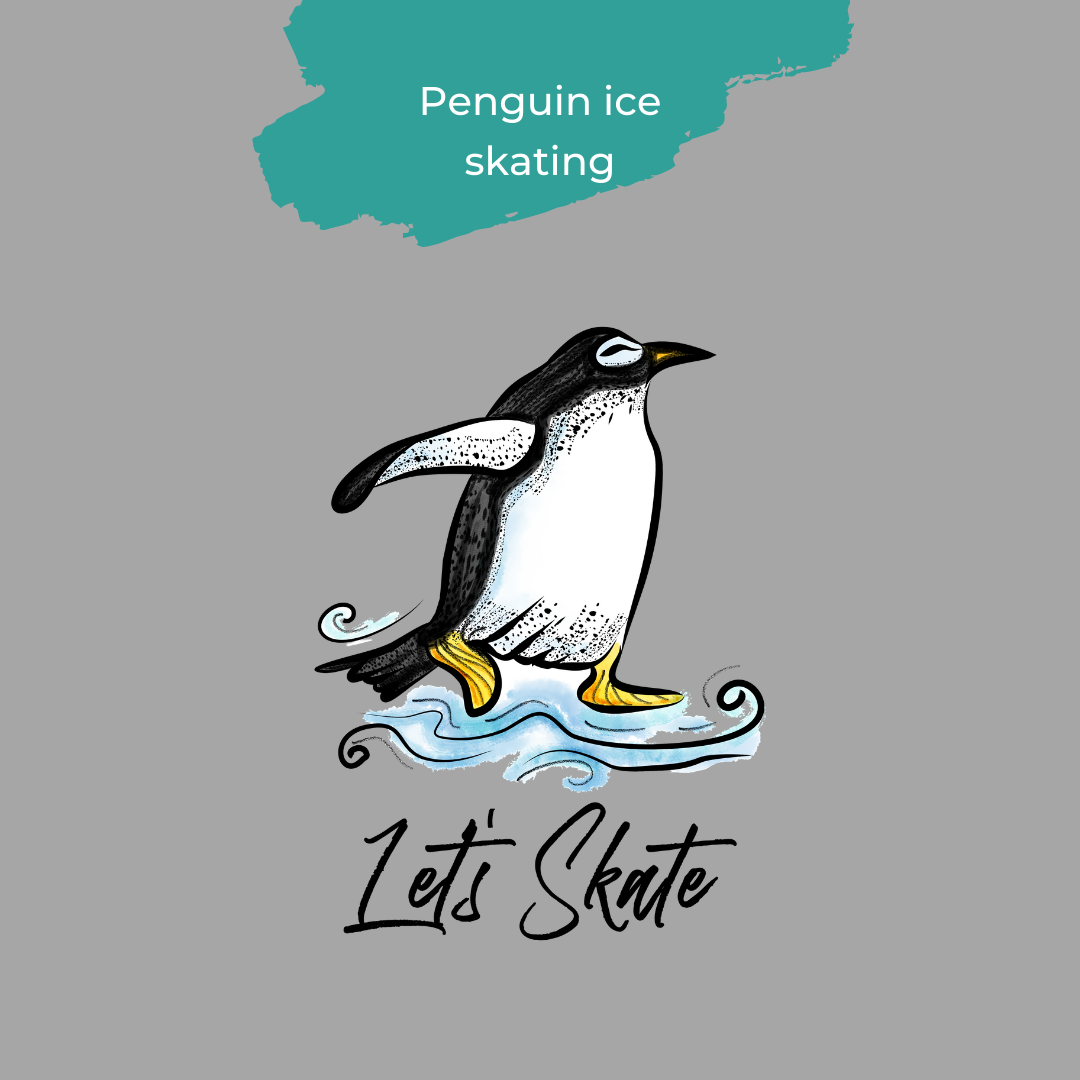 Penguin ice skating design from Strandmuschel